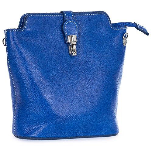 BHBS Bolso Pequeño para Dama tipo Mensajero en Piel Auténtica 22x20x9 cm (LxAxP) Azul - Elektro Blau