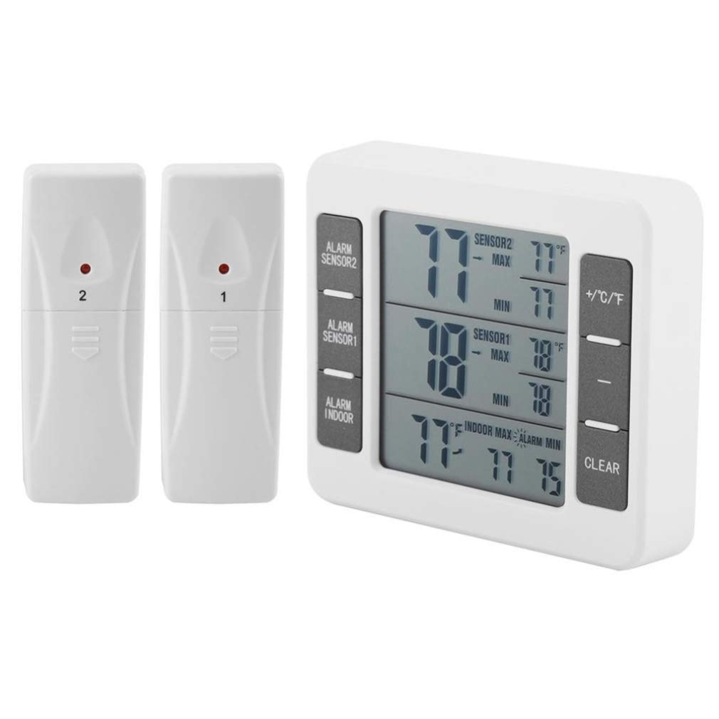 Refrigerator Thermometer, Wireless Indoor Outdoor Digital Thermometer, 2 PCS Remote Sensor Temperature Monitor Gauge with Audible Alarm, Min/Max Record for Home Fridge Freezer (Battery not Included)