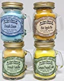 4 Pack Everyday Assortment Mini Mason Jar Candles - 3.5 Oz French Vanilla, 3.5 Oz Fresh Linen, 3.5 Oz Lemon Poundcake, 3.5 Oz Hot Apple Pie, By Our Own Candle Company