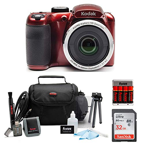 KODAK PIXPRO AZ252 Astro Zoom Digital Camera (Red) with 32GB Card, Case, Accessory kit, and Rechargeable batteries