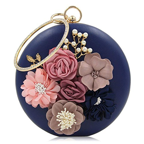 Evening Floral Blue Girls Party Shape Bag Clutch Bag Women Leather Round Rising Ladies Wristlets ON New Circular Arrival Pu Bag W1qngPp