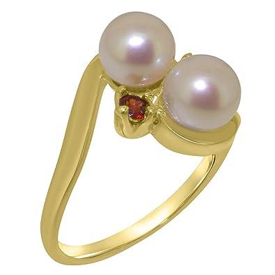 8015ba72b LetsBuyGold 9k Yellow Gold Cultured Pearl & Garnet Womens Anniversary Ring  - Size 4