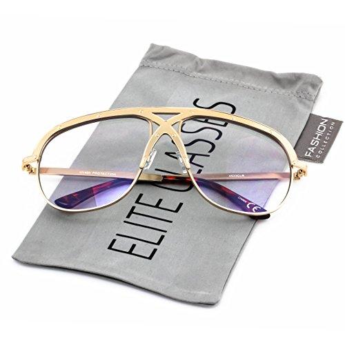 Vintage Oversized Sunglasses (Elite XL Vintage Retro Oversized FULL Metal Aviator Clear Lens Mens Womens Sunglasses (Gold Frame, 2.75))