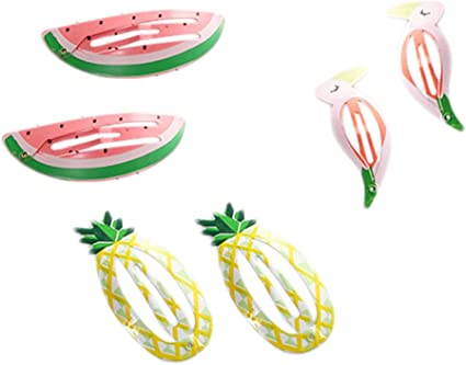 6Pcs Girls Baby Fruit Hair Clips Snap Kid Hairpin Barrettes Hair Bow Accessories