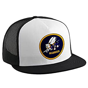 Trucker Hat with U.S. Naval Construction Force (CBs, SeaBees), emblem by ExpressItBest