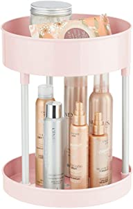 mDesign Spinning Metal and Plastic Makeup Organizer Rotating Lazy Susan 2-Level Turntable Storage Bin - Carousel Organizer for Bathroom Vanity Countertops, Cabinets - Light Pink/Silver