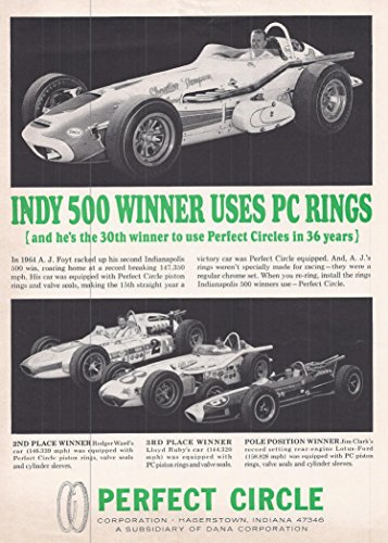 1964 Vintage Magazine Advertisement Indy 500 Winner Uses PC - Indy 500 Winner First