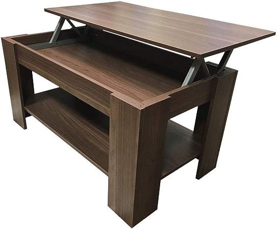 Mesa de café genérica, Color Nogal Oscuro y Piedra roja y marrón ...