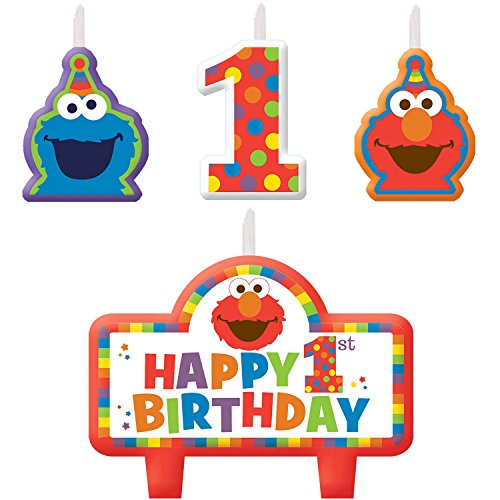 Elmo 1st Birthday Candles 4 count Supplies Elmo Sesame Street Fun to be One! (Sesame Street Candles)