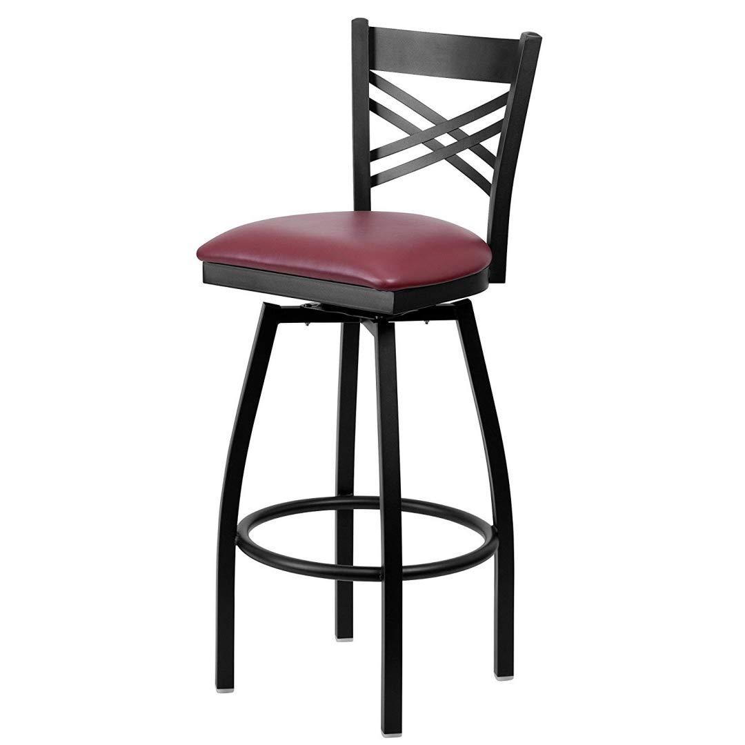Modern Style Metal Dining Bar Stools Cross-Back Design 360-Degree Swivel Seat Lounge Diner Restaurant Commercial Black Powder Coated Frame Finish Home Office Furniture - (1) Burgundy Vinyl Seat #2199