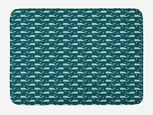 Whale Bath Mat, Sleeping Kings of The Oceans in The Sky Among The Moon and Stars Nature, Plush Bathroom Decor Mat with Non Slip Backing, 31.5 X 19.7 Inches, Teal Baby Blue Beige ()