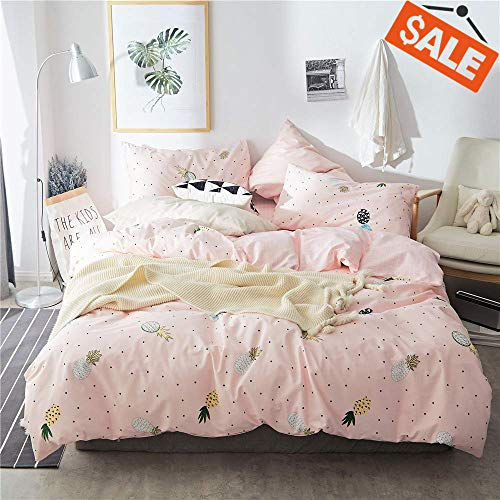 Bedding Print Set (VClife Tropical Pineapple Print Bedding Sets Queen/Full- Pink Grid Geometric Design Duvet Cover Sets for Woman Girls Teen)