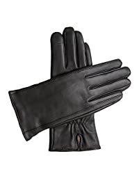 Downholme Touchscreen Leather Cashmere Lined Gloves for Women (Black, L)