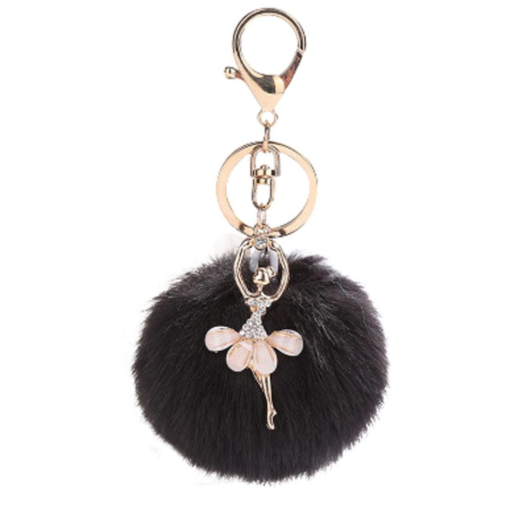 2c501d1f3b75 Amazon.com  BCDshop Cute 8CM Cute Dancing Angel Keychain Pendant Women Key  Ring Holder Pompoms Key Chains Xmas Gift (Black