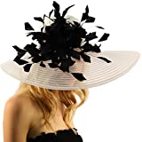 Spectacular Spray Feathers Sinamay Derby Floppy Wide Brim 7'' Dress Hat White/Black