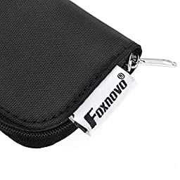Foxnovo 22-Slots SD SDHC MMC CF Micro SD Memory Card Holder Pouch Case Zippered Storage Bag Protector (Black)