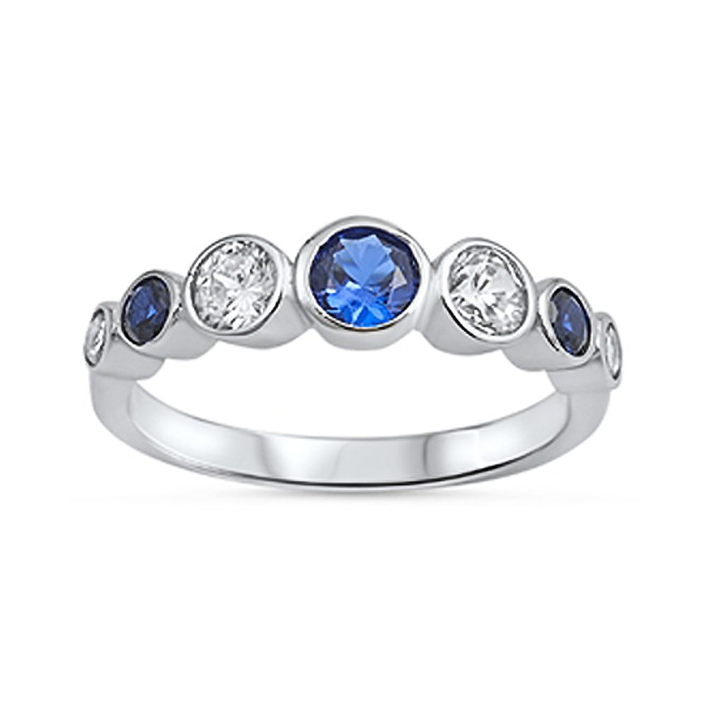 Sterling Silver Round Bezel-Set Dark Blue and Clear Cubic Zirconia Anniversary Ring- Size 8