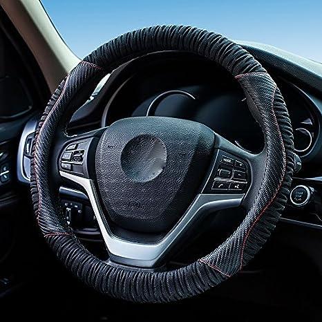 XuanMax Nuovo Universale Coprivolante Auto Microfibra Pelle con Materiale di seta di Ghiaccio Traspirante Veicolo Copri Volante dell'automobile Antiscivolo Copertura di Volante Car Steering Wheel Cover 38cm - Rosso