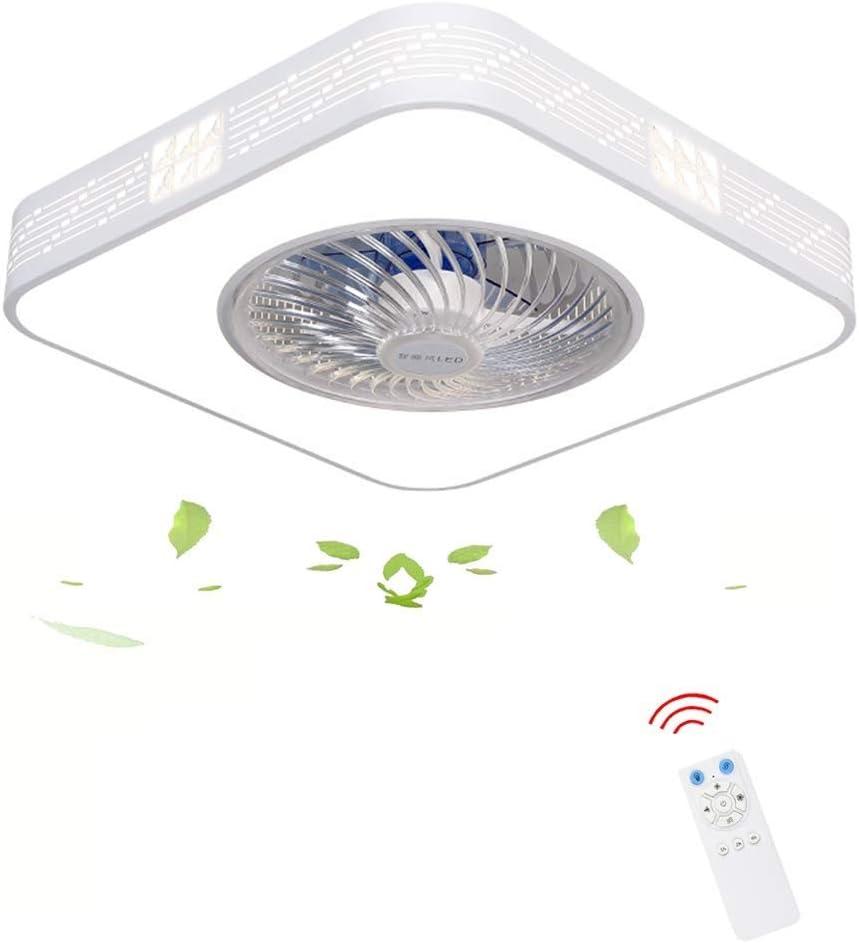 Zzxyxdd Luz de Techo de Ventilador Moderna con Control Remoto Lámpara de Ventilador Regulable de Tres Colores Aspa Oculta Silenciar Luz de Ventilador Interior