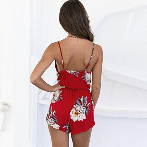 Ouneed® Femme Fleurs Dos Nu Combishort Plage Wear Sexy Suite
