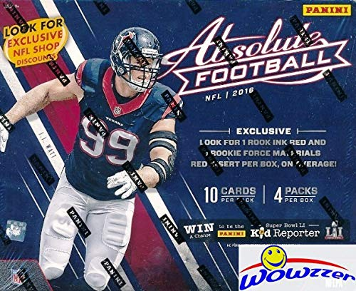 2016 Panini Absolute Football EXCLUSIVE Factory Sealed MEGA Box with TWO(2) AUTOGRAPH or MEMORABILIA Cards! Look for RC's & Auto's of Carson Wentz, Ezekiel Elliott, Jared Goff, Dak Prescott & More!