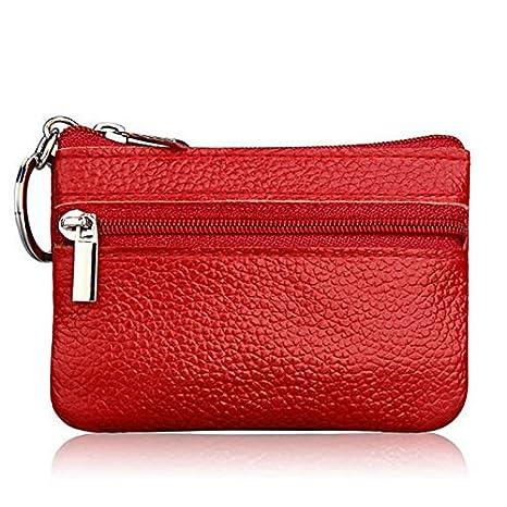 Shoresu Soft Men Women Card Coin Key Holder Zip Genuine Leather Wallet Pouch Bag Purse Brown