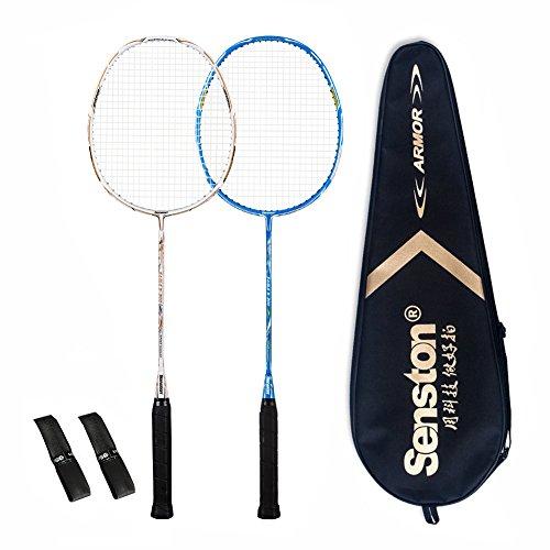 Senston 2 Full Graphite Badminton Racket Set Full Carbon Badminton Racquet(White+Blue) With Racket...