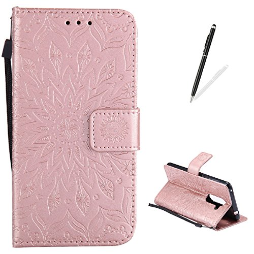 KaseHom LG C40 Flip Wallet Case + [Free Touch Stylus Pen] Sun Flower Design [Detachable] Leather Magnetic Holster with Card Slots, Kickstand Full Protective Cover - Rose - C40 Rose