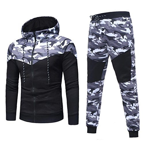 Active Run Straight Pant (2017 New Arrival DRACLE Sports Suit for Men's, Camouflage Hooded Sweatshirt + Long Elastic Pant Autumn / Winter (XXXL, Black))