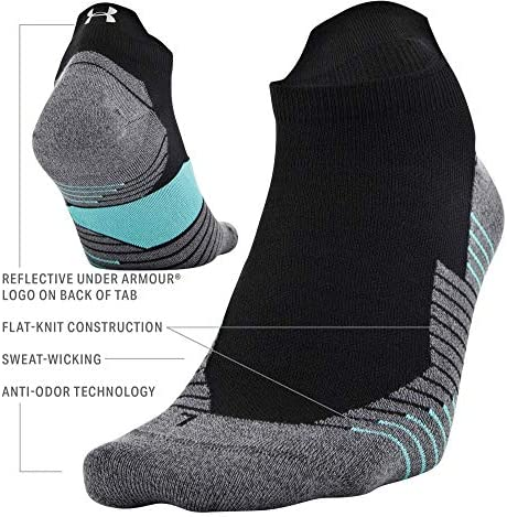 Run 2.0 No Show Tab Socks, 1-Pair, Black/Desert Sky Blue, Large