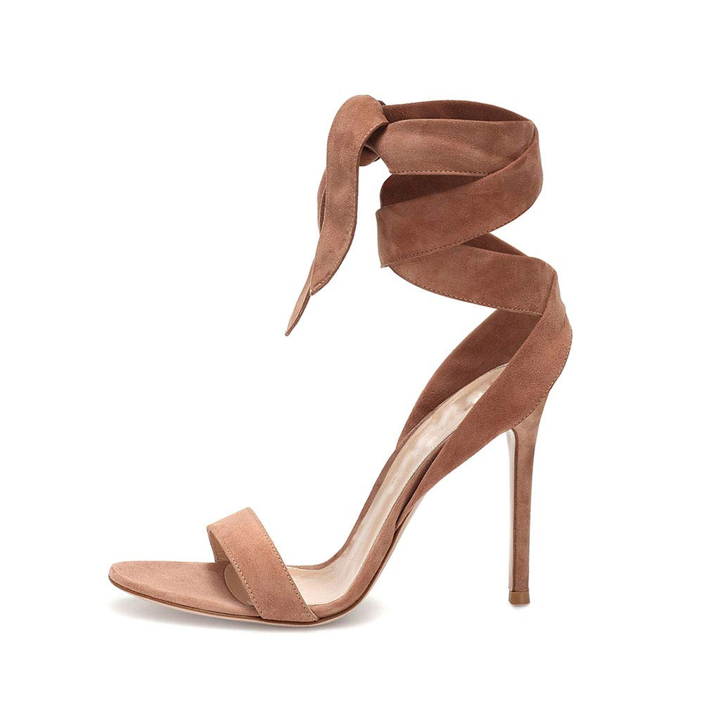 Darkbrown Women's Round Head Open Toe High Heel Sandals Suede Cross Belt High Heel Sandals Fashion Dress shoes (Heel Height  12 cm)