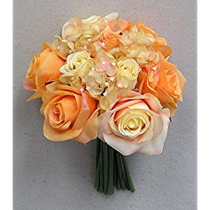 JenlyFavors Rose & Hydrangea Silk Flower Wedding Bouquet Orange 104