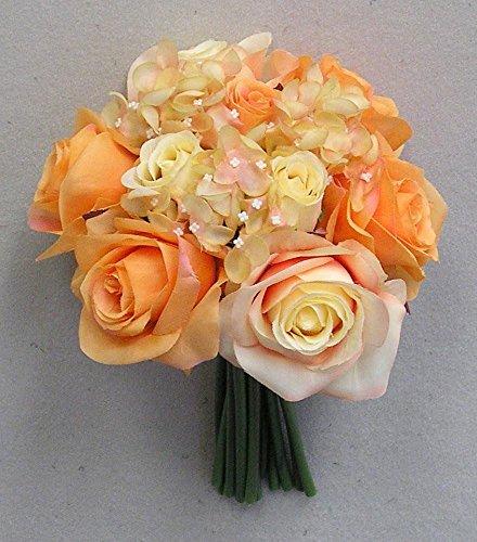 JenlyFavors Rose & Hydrangea Silk Flower Wedding Bouquet Orange
