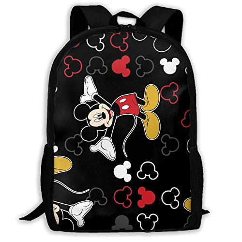 (CHLING Lightweight Backpack Briefcase Laptop Shoulder Bag Mickey Mouse Black Classic Basic Water Resistant Daypack)
