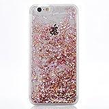 iPhone SE Case, SUPVIN Liquid Case for iPhone SE, iPhone 5S, Fashion Creative Design Flowing Liquid Floating Luxury Bling Glitter Sparkle Diamond Hard Case for iPhone SE, iPhone 5S (Pink)