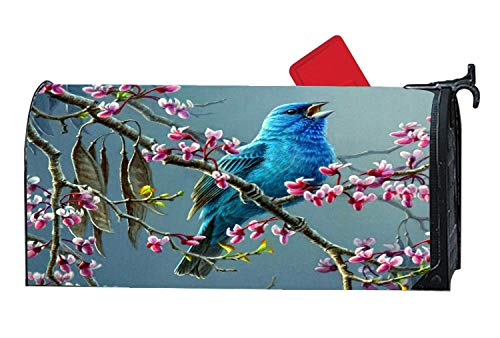 Bluebird Calling Cherry Blossoms Tree Magnetic Mailbox Cover Mailwrap Seasonal Theme, Animal Mailbox Makeover Cover, Standard Size 6.5