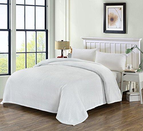 (Simple&Opulence Solid Coral Jacquard Dot Velvet Soft Warm Throw Blanket (King, White))