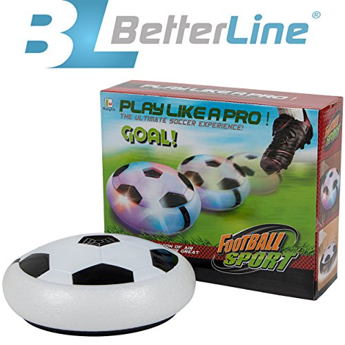 Price comparison product image Kids Air Power Ultra Glow Hockey Football Soccer Ball Disc, Toys for Boys Girls Sports, for Indoor or Outdoor Hover Ball Game with Foam Bumpers and Light Up LED Lights By Better Line