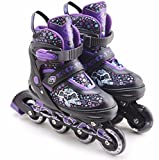 The Magic Toy Shop Childrens Kids Boys Girls 4 Wheel Adjustable Inline Skates Roller Blades Boots (Purple, Large/UK 5-7/)