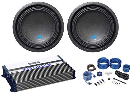(2) Alpine S-W10D4 10″ 3600w Dual 4-Ohm Car Subwoofers+Mono Amplifier+Amp Kit