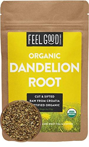 Organic Dandelion Root - Cut & Sifted - 4oz Resealable Bag - 100% Raw From Croatia - by Feel Good Organics (Dandelion Root Tea)