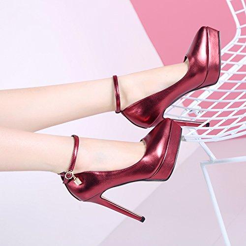Sexy Super Con Snap Otoño De La Femeninos Zapatos Y El Calzado Superficial Impermeable Primavera La Simple Fino Nueva GTVERNH Tacon Violet Plataforma xTFpW0aqqw