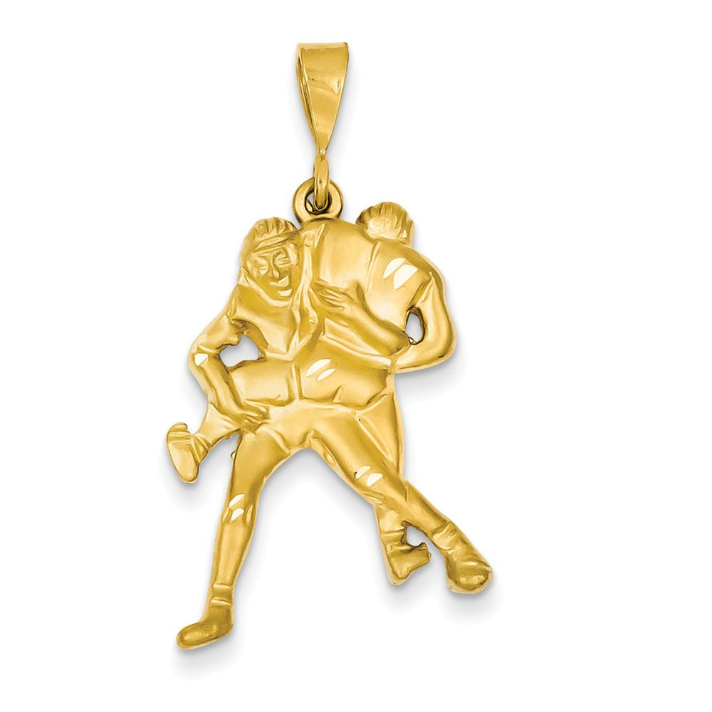 14K Yellow Gold Wrestling Charm 35x20mm by Jewelry Stores Network
