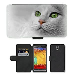 Super Stella Cell Phone Card Slot PU Leather Wallet Case // M00144569 Cat Animal Pet Cat Face Cat'S Eyes // Samsung Galaxy Note 3 III N9000 N9002 N9005