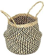 COMPACTOR Kosz do przechowywania z ręcznie plecionej naturalnej trawy morskiej, składany, z uchwytami, ciemne drewno, średnica: 27 cm, wysokość: 26 cm, RAN8408