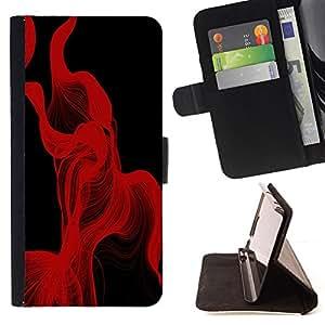 - Red Lines Abstract - - Prima caja de la PU billetera de cuero con ranuras para tarjetas, efectivo desmontable correa para l Funny HouseFOR HTC One M9