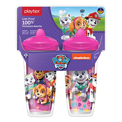 Playtex Sipsters Stage 3 Paw Patrol Spill-Proof, Leak-Proof, Break-Proof Spout Cup for Girls, 9 Ounce - Pack of 2