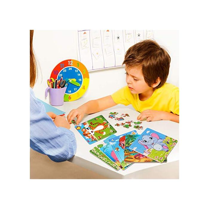 51IvhQf2QhL 【Incluyendo】Rompecabezas infantiles con Tigre, Elefante, Ciervo Sika, Ballena, Mono y Dinosaurio 6 rompecabezas (9 cada uno). Cada rompecabezas mide 5.9 * 5.9 pulgadas y es adecuado para pequeños agarres de las manos; es fácil de transportar y adecuado para viajar. Los colores brillantes y los lindos diseños de animales atraen a sus hijos a jugar, lo que facilita que los niños aprendan y recuerden. 【Calidad y Seguridad】Nuestros Wooden Jigsaw Puzzles están hechos de materiales ecológicos, no tóxicos, resistentes y duraderos. Todas las esquinas han sido meticulosamente diseñadas, sin esquinas afiladas y esquinas redondeadas, lo que es seguro para su hijo. Buen toque Cada rompecabezas tiene un marco de madera que ayuda a mantener las piezas en su lugar. 【Aprendar mientras Jugar】¡A los niños les encantan los rompecabezas! Son muy interesantes, inspiradores y emocionantes, ¡aprenderán mientras juegan! No solo proporciona diversión para los niños, sino que también los ayuda a practicar la resolución de problemas y el razonamiento espacial a medida que completan el rompecabezas.