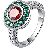 18K Gold Filled Green Red Sapphire Ring Engagement Wedding Jewelry Size 7.8.9.10 ERAWAN (8 #)