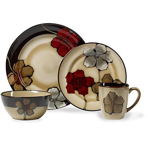 Country Style Multi Colored Stoneware Flower Painted Poppies